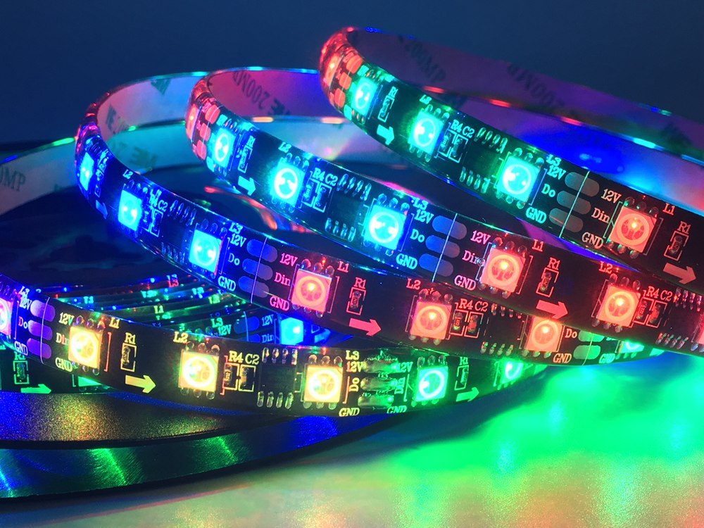 WS2811 30/48/60Pixels/Leds/m 5050SMD RGB Smart Pixel Led Strip Addressable WS2811IC Black/White PCB DC12V