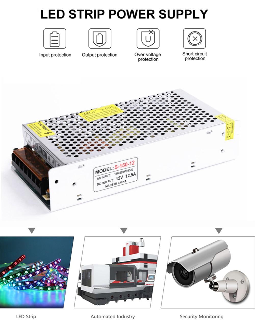 DC12V Switch LED Power Supply Transformer For WS2811 WS2815 1A 2A 3A 5A 6.5A 8.5A 10A 12.5A 16.5A 20A 25A 30A 40A 50A 60A