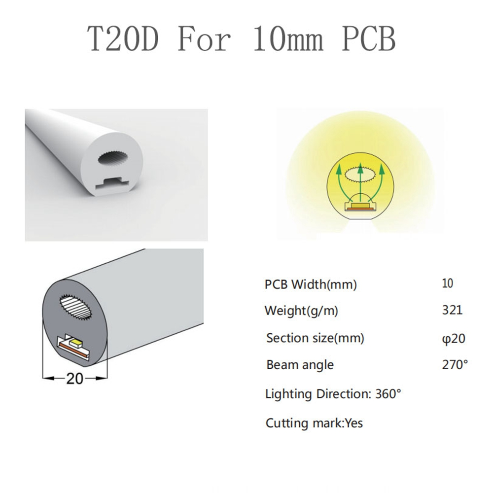 D20 silicone tube light