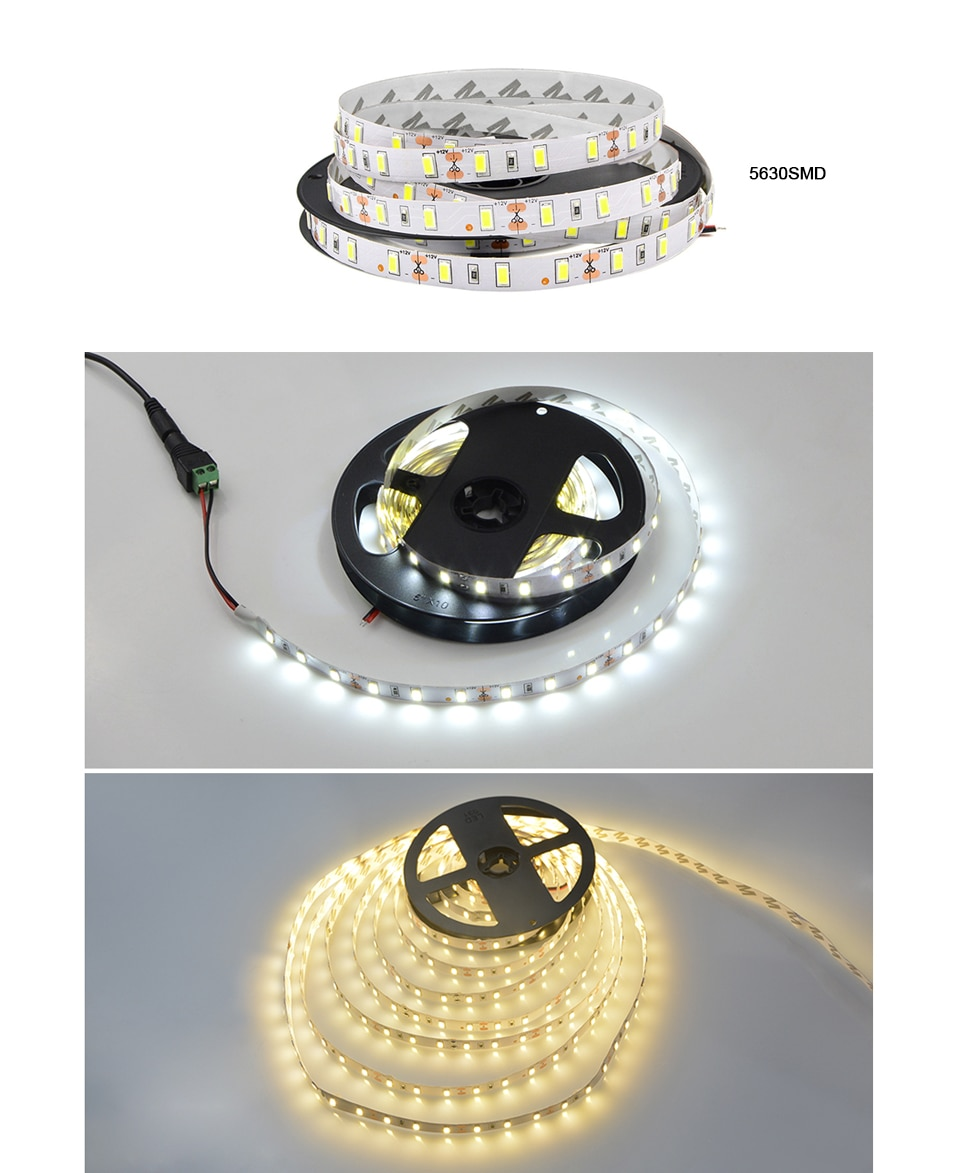 LED Strip 5050 5630 2835 RGB lights 12V 5M Flexible Home Kitchen Decoration lamp Waterproof 300 LED Tape Diode Ribbon 60LEDs/M