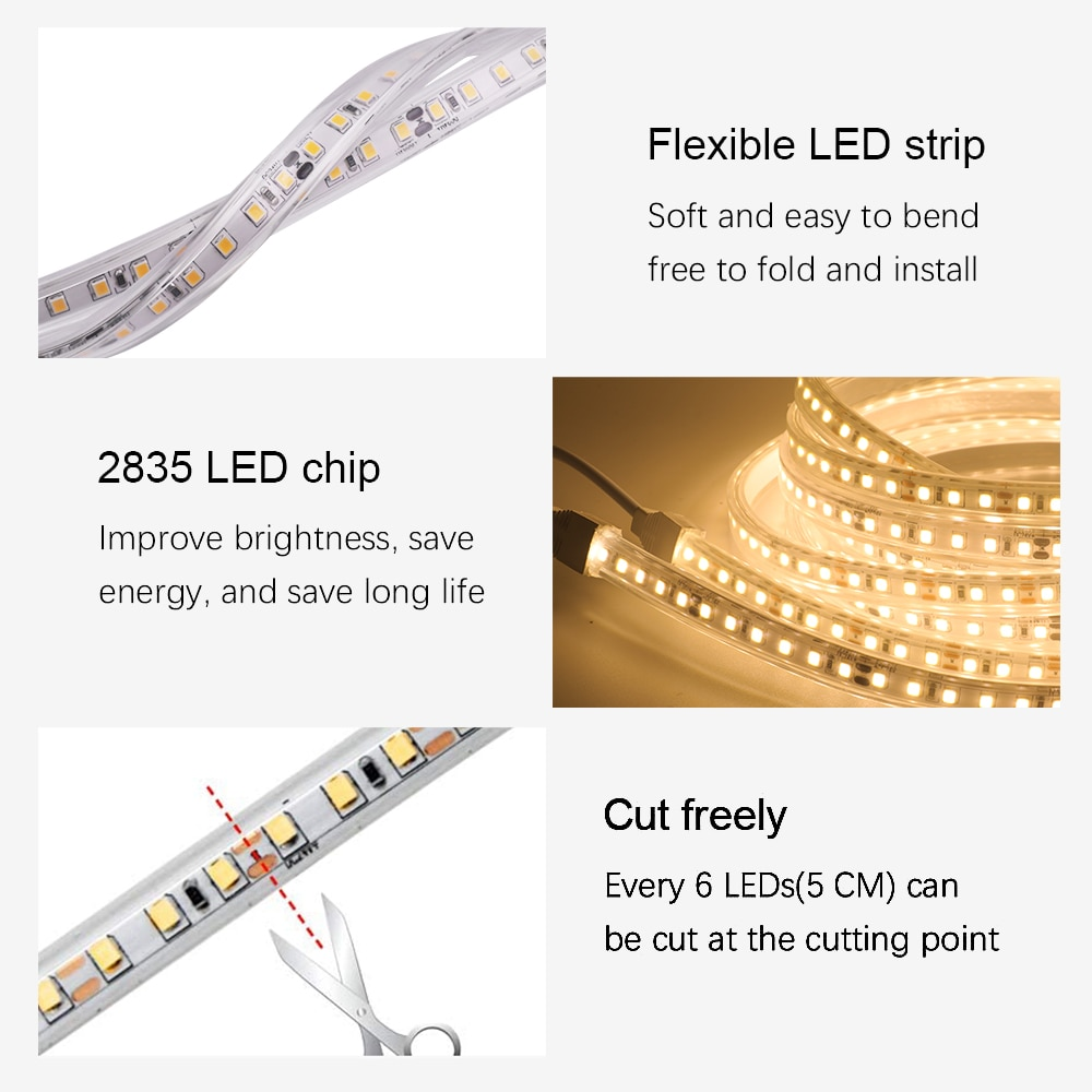 2835 LED Strip DC 12V 120LEDs/m IP67 Waterproof DC 24V Flexible Tape LED Light Lamp Natural White 4000K /Warm White
