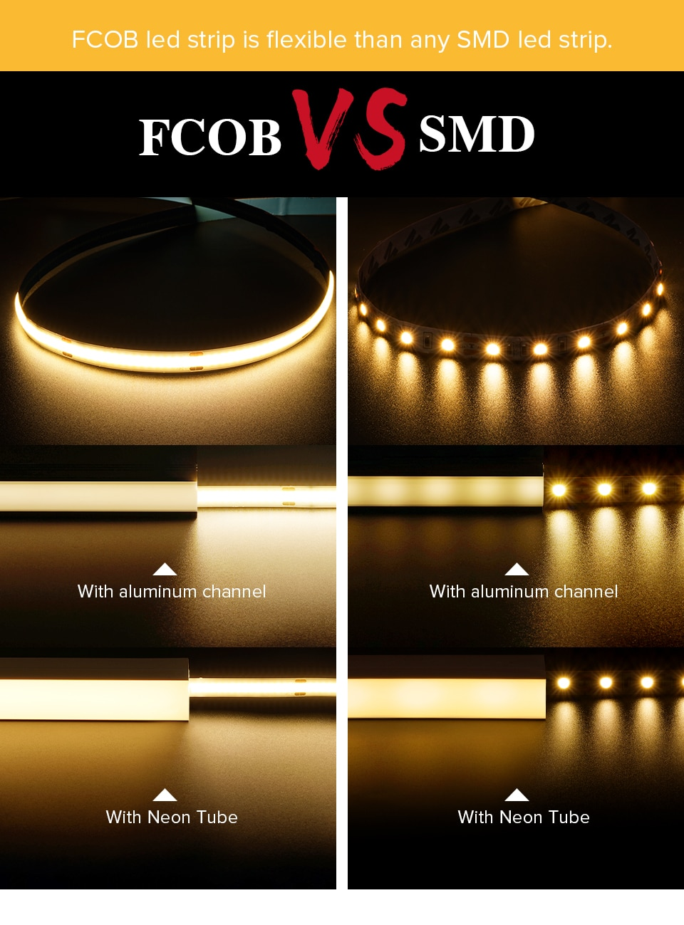DC5V USB FCOB LED Light Strip 8mm PCB 320 LEDs High Density FOB COB Led Lights RA90 Flexible 4000K Nature White Linear Dimmable