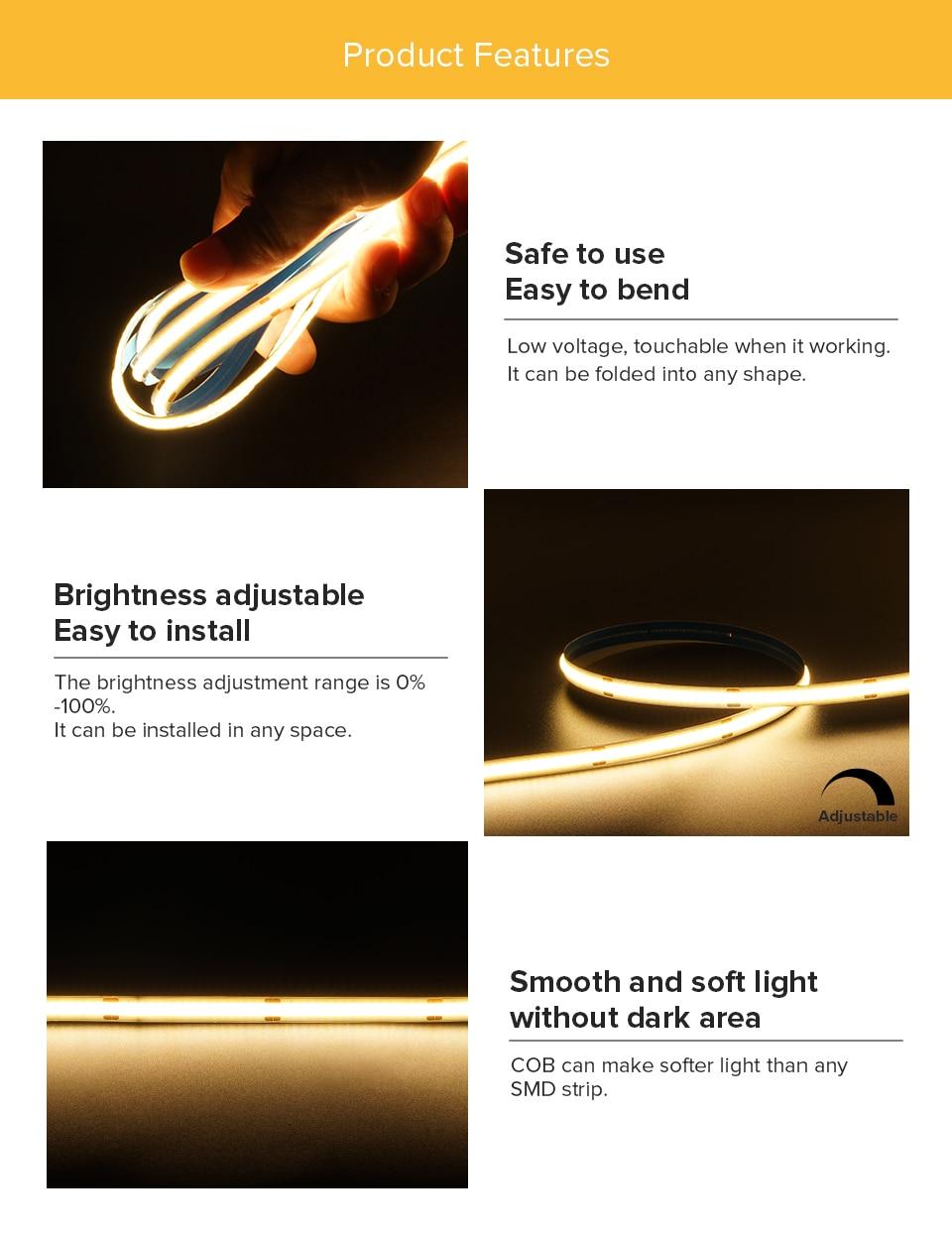 FCOB LED Strip Light 360 480 LEDs High Density Flexible FOB COB Led Lights RA90 Warm Nature Cool White Linear Dimmable DC12V 24V