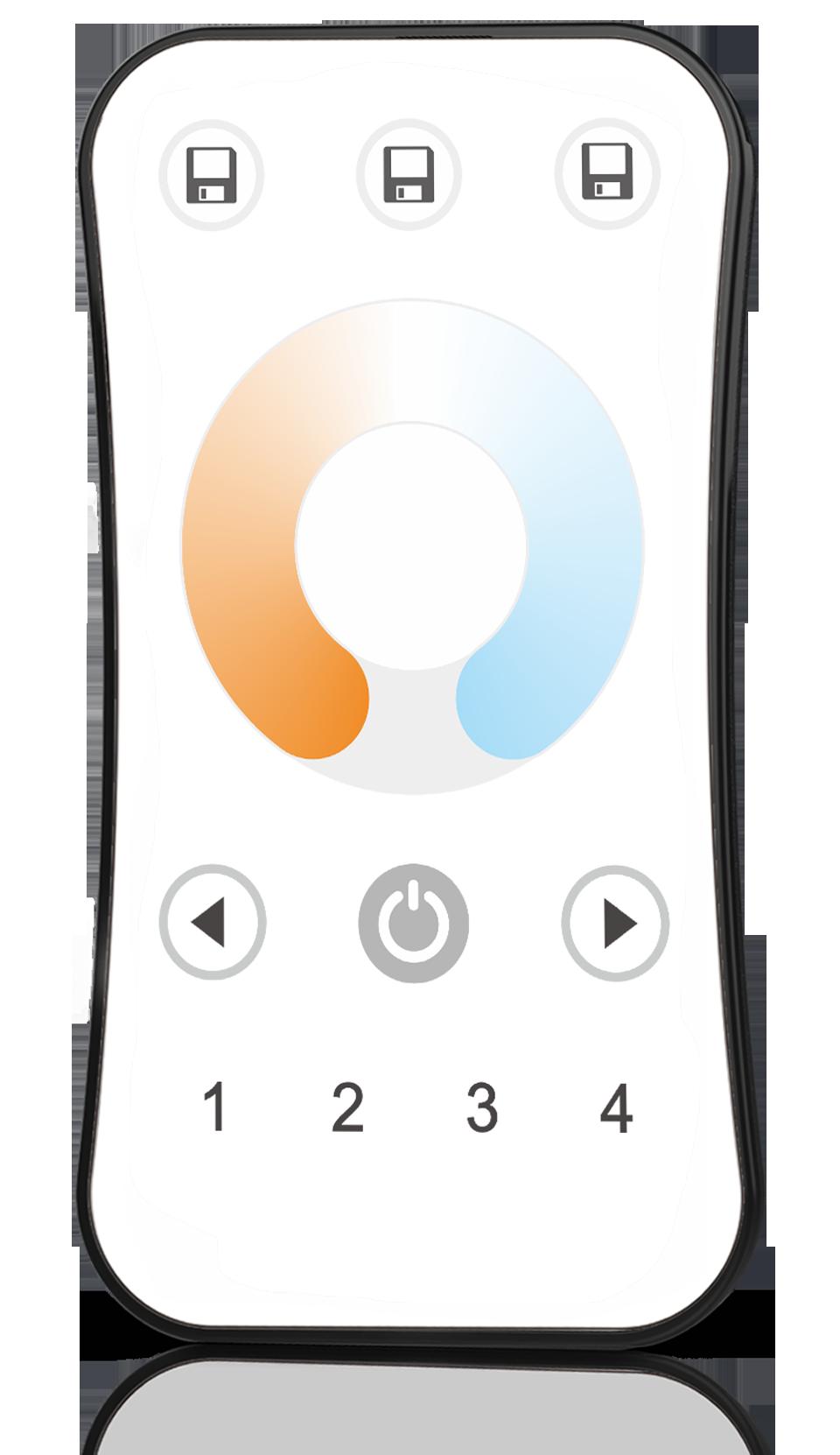 CCT Controller 2CH RF Touch Remote LED Light Strip 2.4GHz Controller Warm White Cool White LED Strip DC12V 24V 36V Max 576W