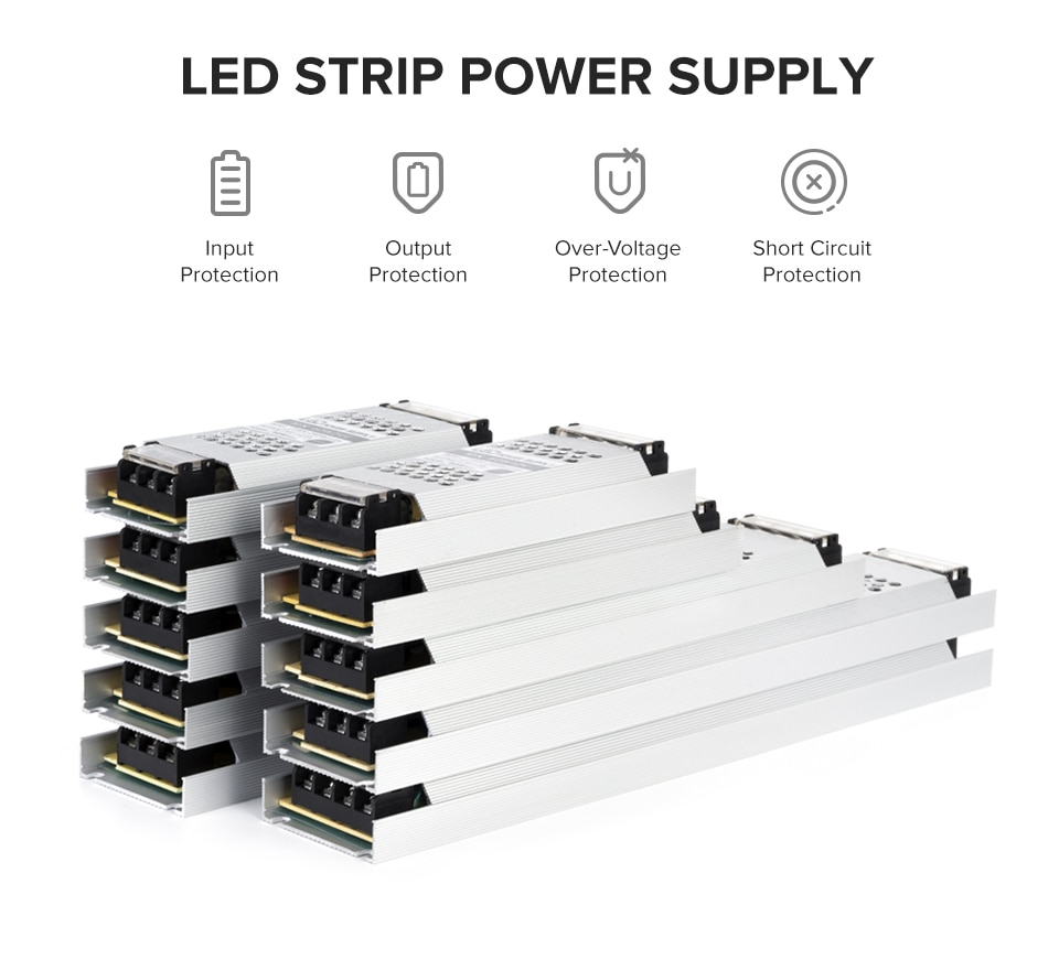 Ultra Thin LED Light Power Supply DC12V 24V 60W 100W 150W 200W 300W Transformer Adapter AC190V 240V Driver FCOB WS2815 LED Strip