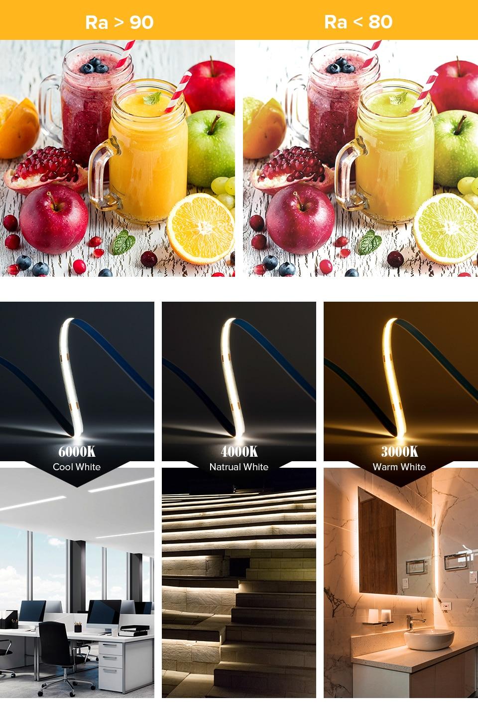 FCOB Led Lights 6mm PCB 512 LEDs RA90 High Density Flexible FOB COB LED Strip Light 3000K to 6000K Linear Dimmable DC12V 24V
