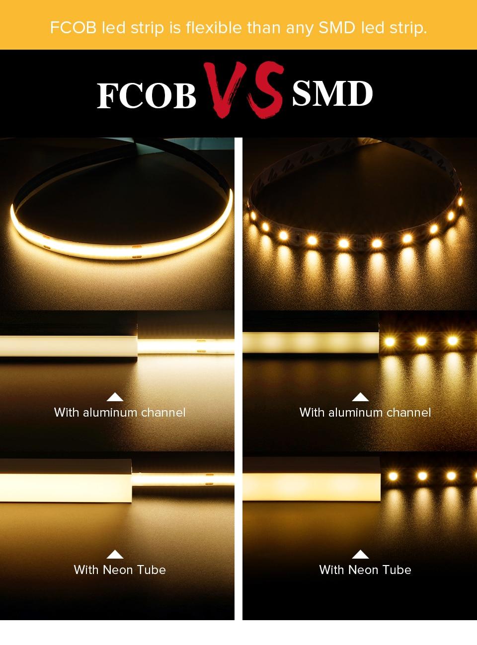 FCOB Led Lights for Bedroom RF14 Keys Dimmable Full Set High Density Room FOB COB Led Light Strips Warm Nature Cool White DC24V