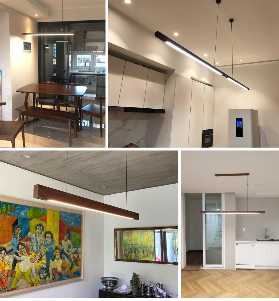 Nordic Wood Pendant Lights LED Modern Pendant Lamps for Dining Living Room Kitchen Office Shop Bar Cafe Long Strip Hanging Lamp