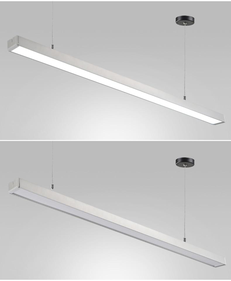 Led office chandelier rounded strip light bar 200cm/2000mm strip T5 rectangular hanging line lamp long ceiling lamp led light