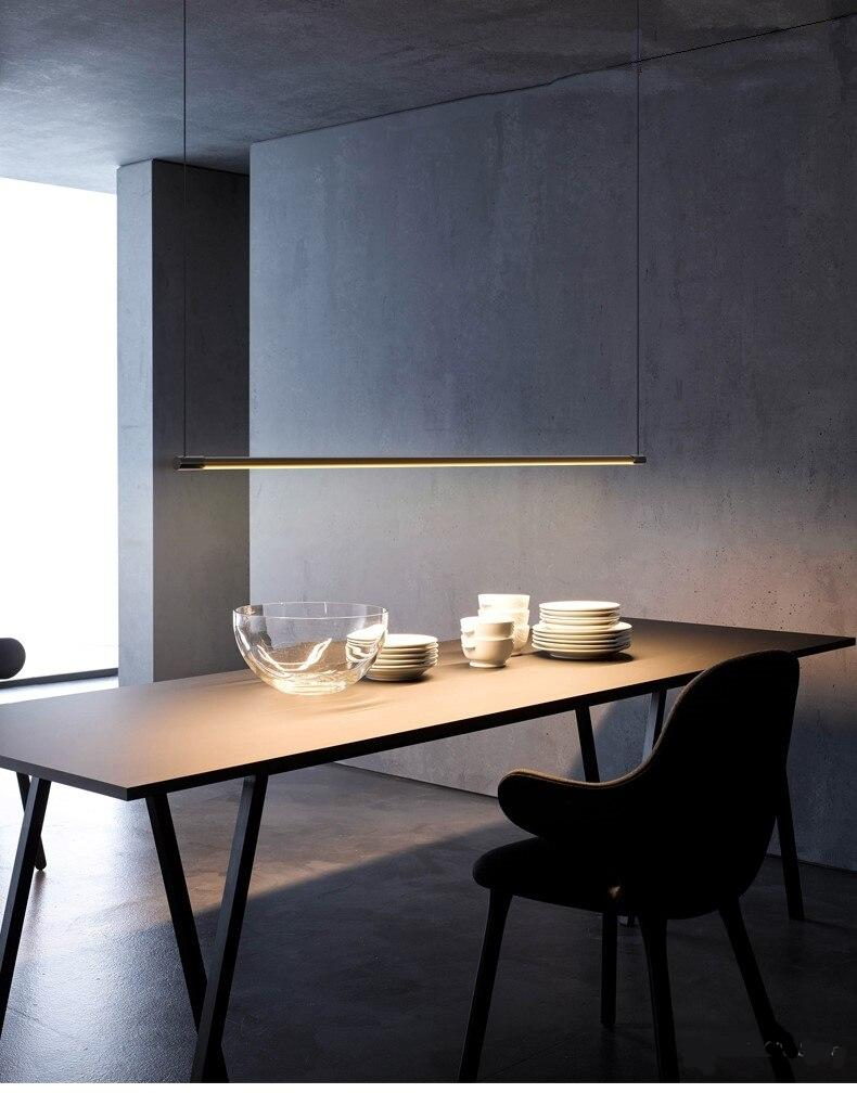 Minimalist Dining Table Strip Pendant Lamp LED Dining Room Office Modern Pendant Lights Designer Hanging Lamps Lighting Fixture