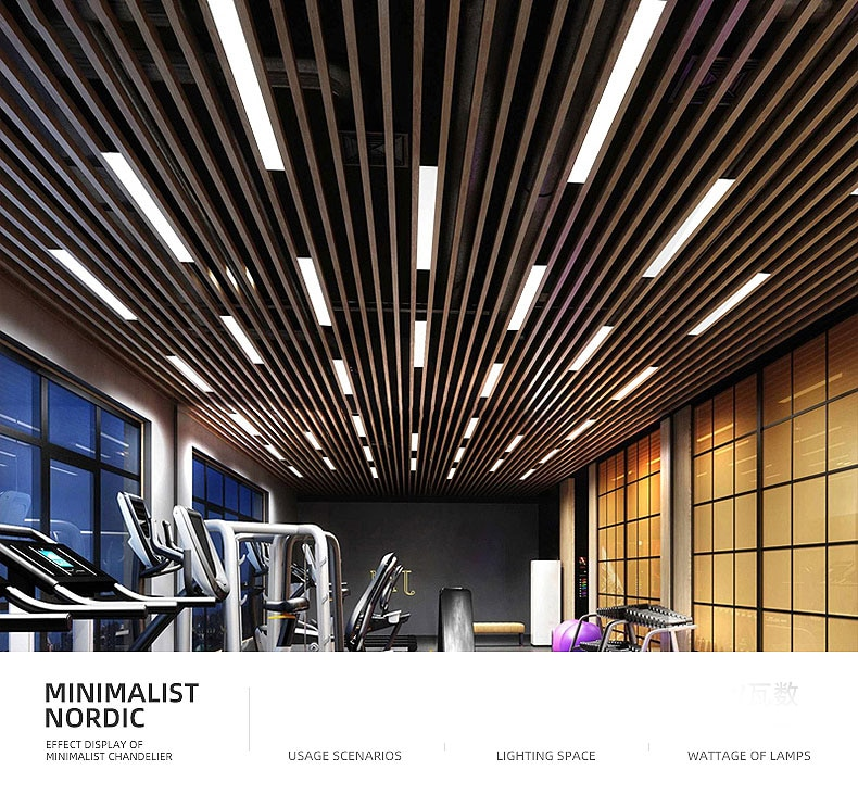 Office chandelier LED Office Lighting Office Droplight Gymnasium Strip Hanging Wire Lamps Studio Aluminum Square Condole Lamps