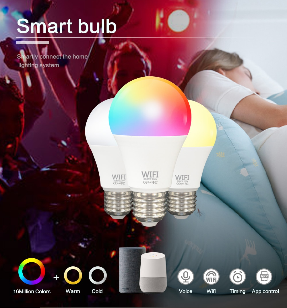 Tuya WiFi Bulbs E27 LED Smart Light Bulb Changing Lamp Voice Control Alexa Google Assistant 100W Equivalent Lighting 4Pack