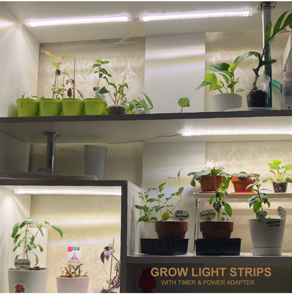 2pcs LED Grow Light Strips Full Spectrum Timer Warm White Led Bars For Plants Phyto Lamp Phytolamp Grow Tent With Power Adapter