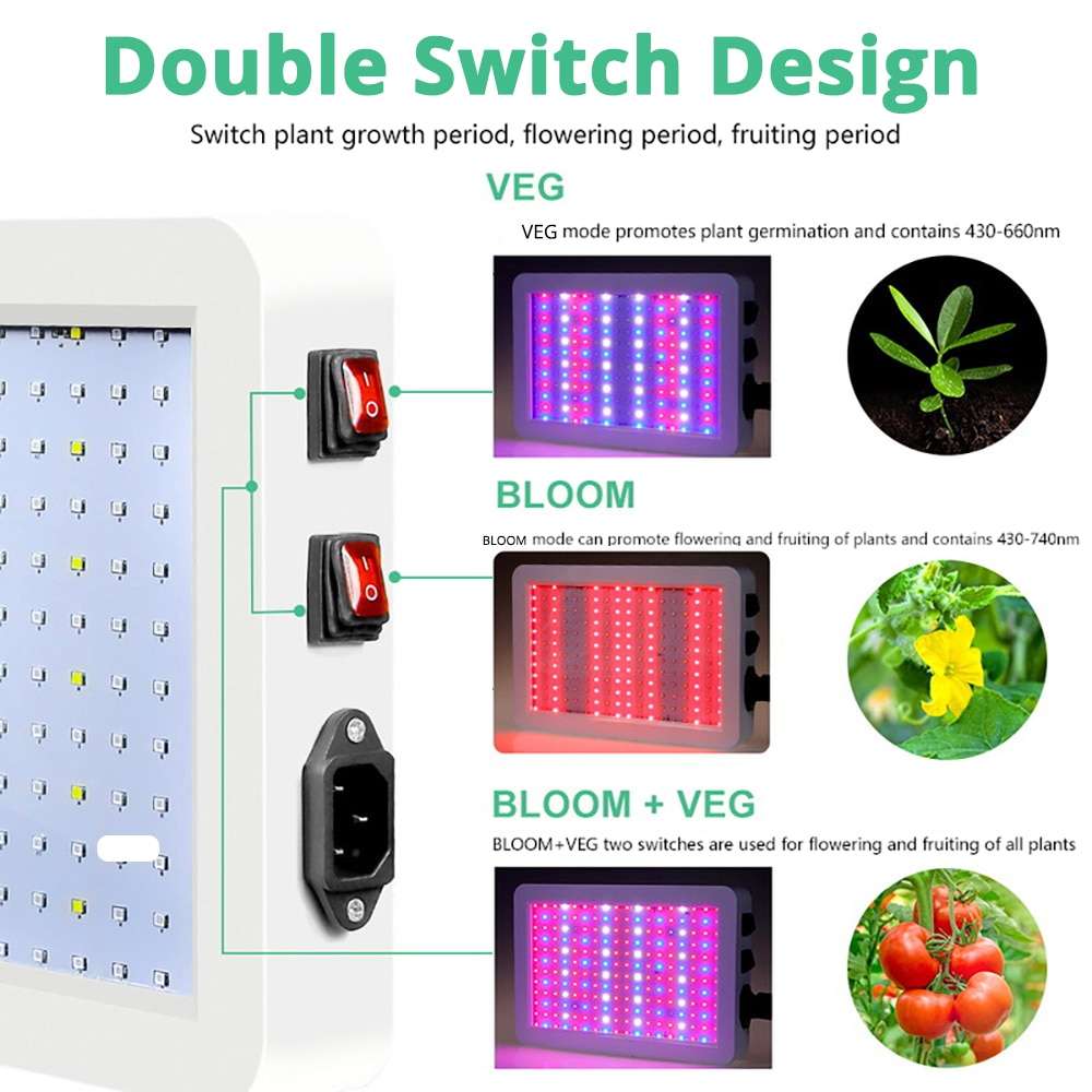 160W LED Grow Light With 312*2835 Leds Chip Waterproof Phytolamp Growth Lamp 265V Full Spectrum Plant Lighting For Indoor Plant