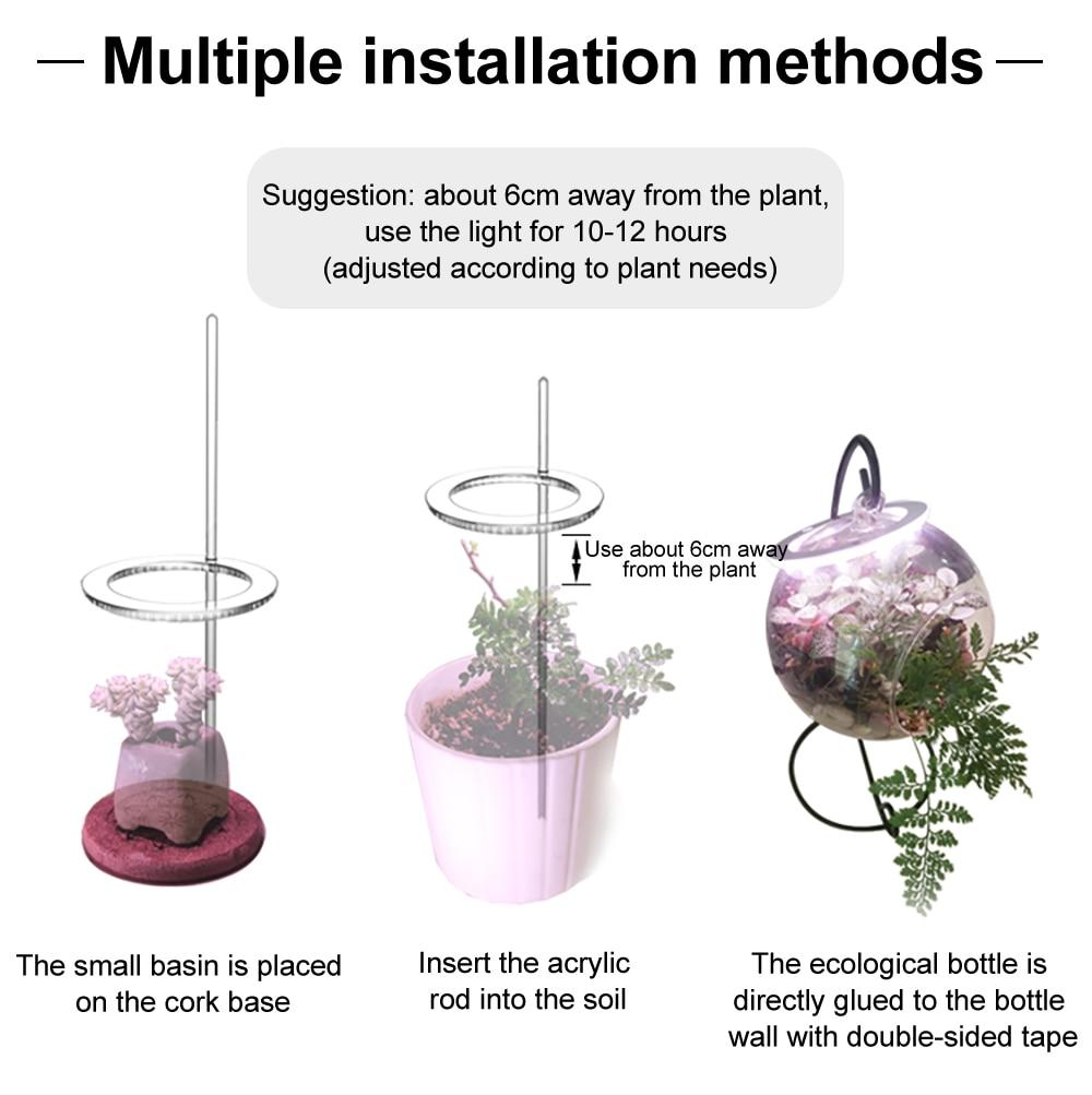 Angel Three Ring Grow Light DC5V USB Phytolamp For Plants Led Full Spectrum Lamp For Indoor Plant Seedlings Home Flower Succulet