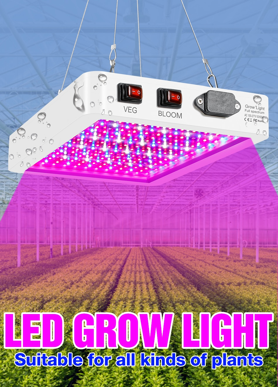 LED Dimmable Full Spectrum Phyto Lamp 100V LED Waterproof Plant Grow Light 277V 4000W 5000W LED Fito Bulb Indoor Veg Seed Growth