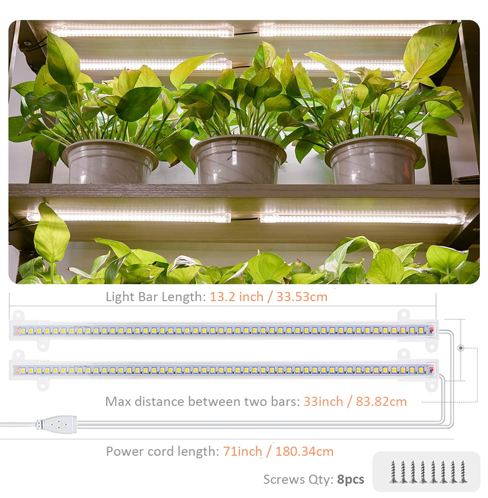 Indoor Led Grow Light Strips 40W Phytolamp For Plants 4pcs Bars Full Spectrum White Led Timer Phyto Lamp Hydroponic Dimmable Bar