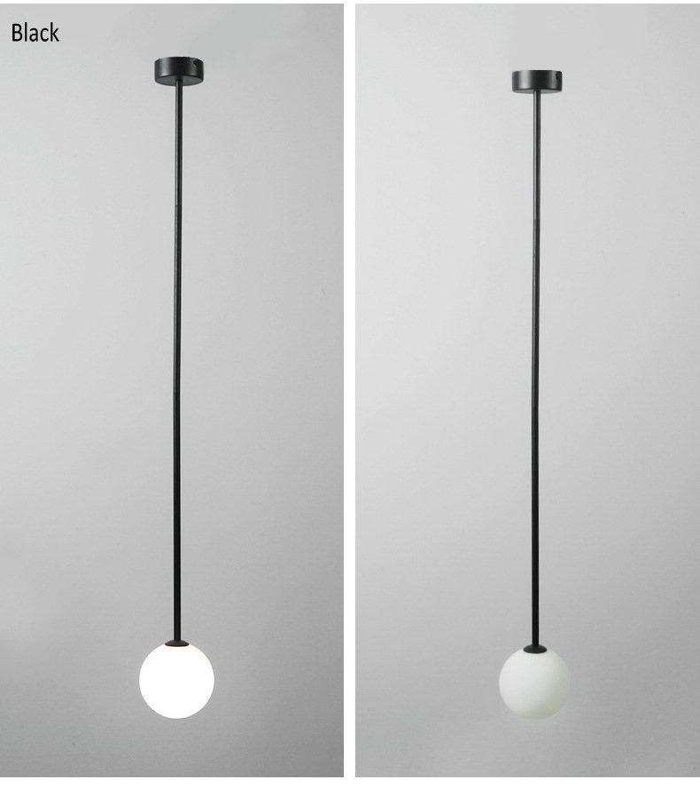 Nordic Milky White Glass Pendant Lights for Bedroom Bedside Ligting Gold Black Creative Bar Ceiling Hanging Lamp for Dining Room
