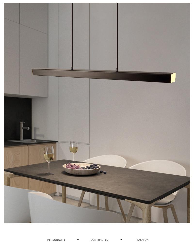 Modern Led long pendant light Linear Hanging lights black brown Pendant lamp for dining room kitchen lighting fixture