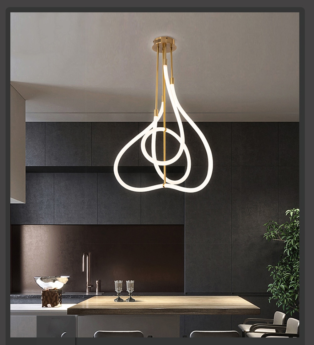 LED Postmodern Golden White Designer Chandelier Lighting Lamparas De Techo Suspension Luminaire Lampen For Dinning Room