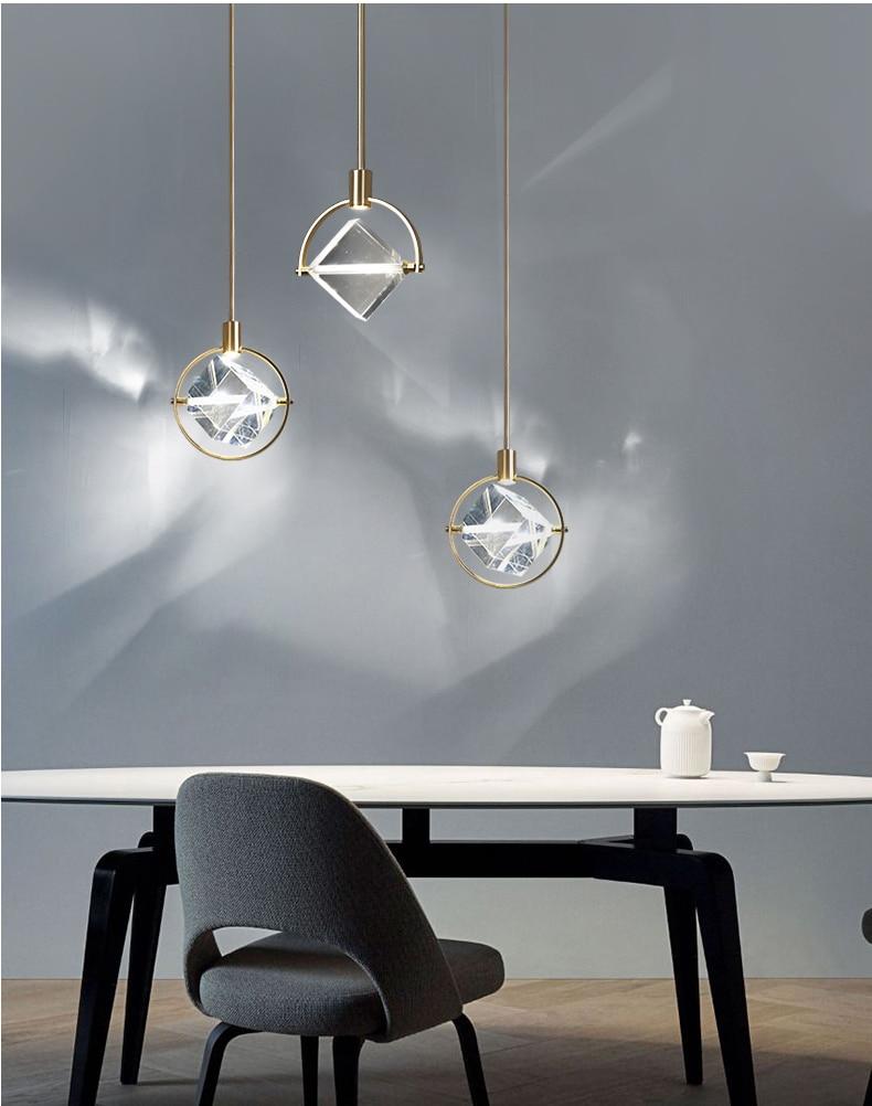 Modern LED Crystal Chandelier kitchen bar Pendant lamps Bedroom bedside decor lighting Dining room Hanging lights