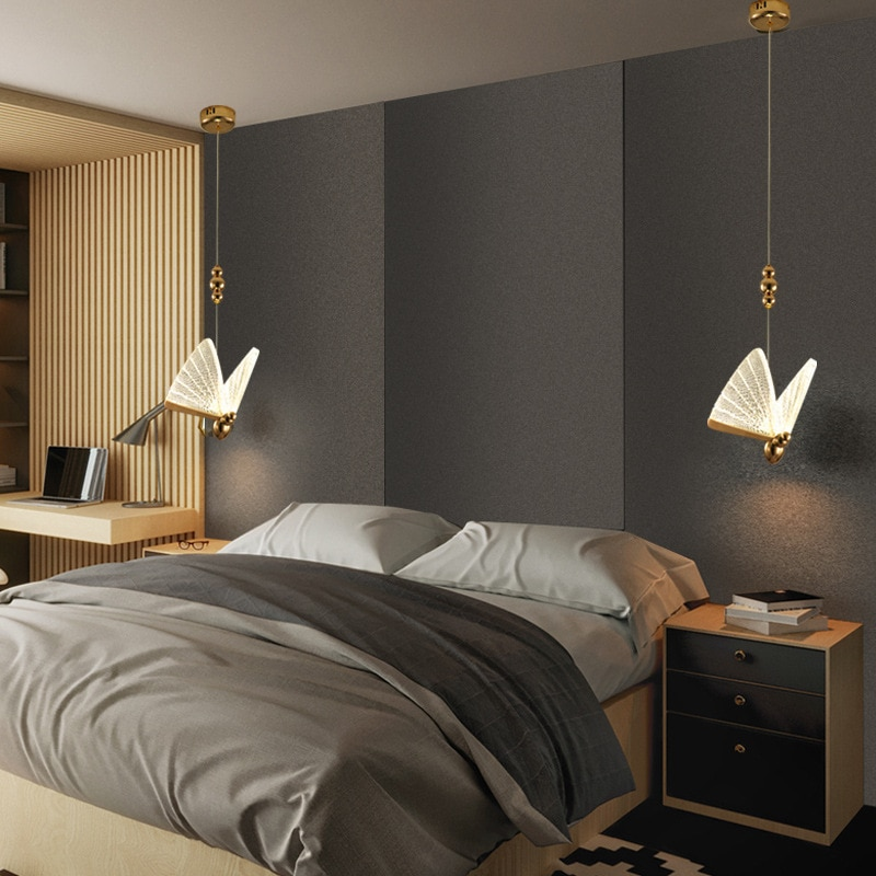 2021 New Butterfly lamp Nordic bedside chandelier luxury staircase lamp modern minimalist bedroom lamp hall restaurant art lamp