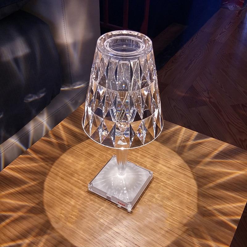 Italian Kartell Battery Desk Lamp USB Touch Sensor Bar Light Decor Restaurant Table Lamps Romantic Nightlight Fixture Bed Lamp
