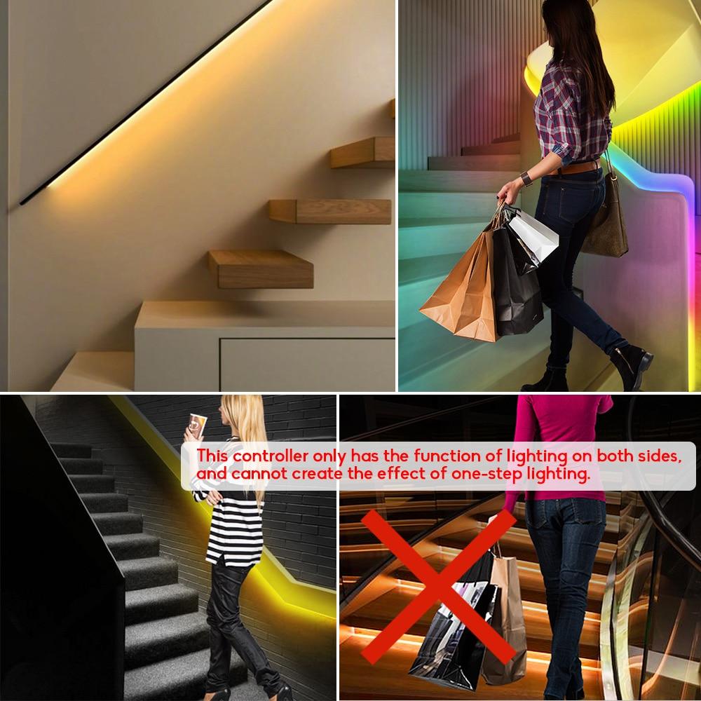 LED motion sensor light strip Stair streamline light under cabinet night light Addressable LED RGB Strip Lights for the stair