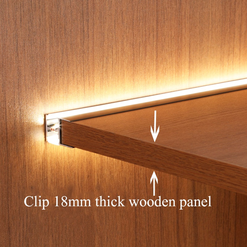 30-120cm Under Cabinet Shelf Light Fit 18mm Wooden Panel Up-down Illuminate Embedded LED Strip for Cupboard Showcase Bookcase