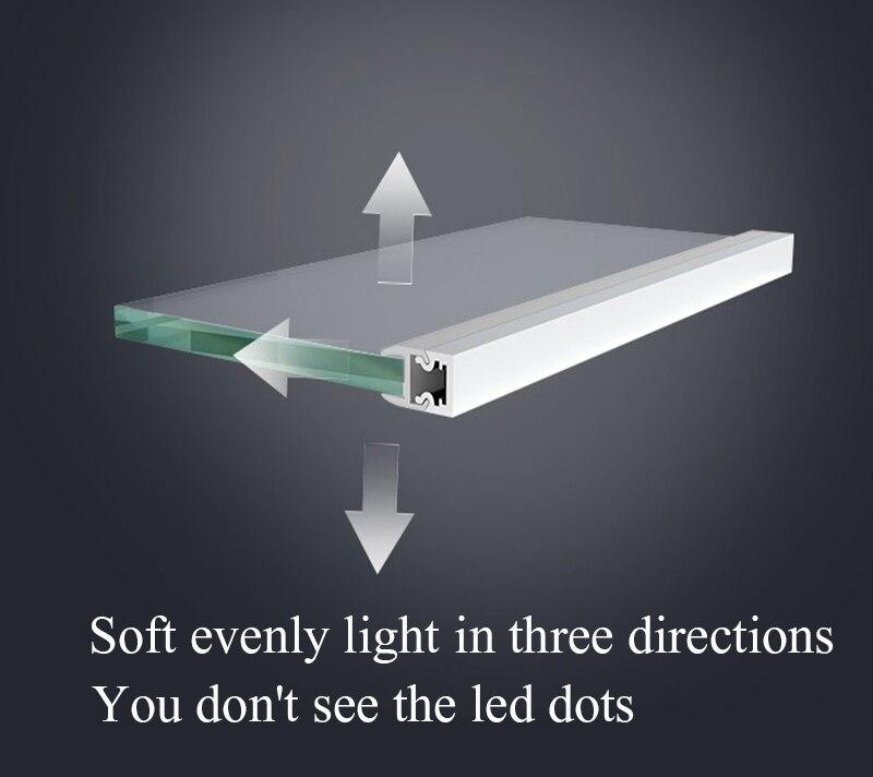 8-9.5mm LED Cabinet Layer light Glass Shelf Splint Clip lamp Aluminium strip lights Back Side display case wine Locker sideboard
