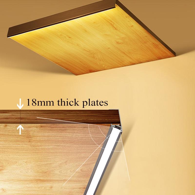LED Cabinet shelf light strip Front Oblique lighting 18mm wide board Aluminum splint light for display bookcase sideboard Locker
