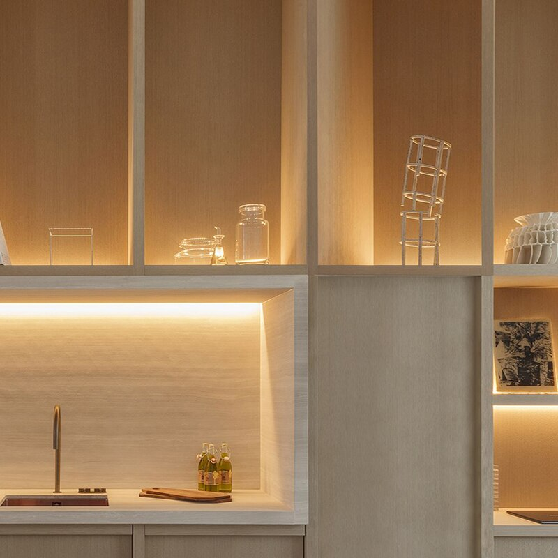 Built-in LED Strip Cabinet Layer Shelf 18mm Panel Edge Light Lamp 12V Invisible Up Down Beam Glow Cupboard Bookcase Backlight
