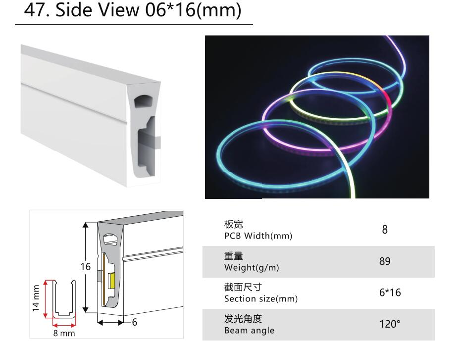 Size:06mm*16mm,silicon frosted neon tube,side view,used for PCBWidth:8mm;120° Beamangle
