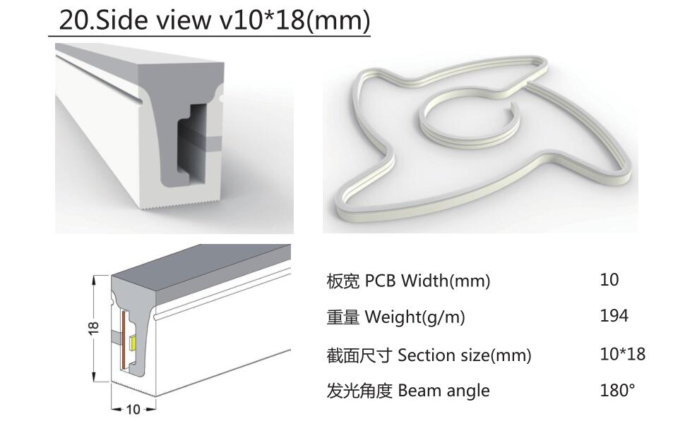 Size:10mm*18mm,silicon frosted neon tube,side view,used for PCBWidth:10mm;180° Beamangle