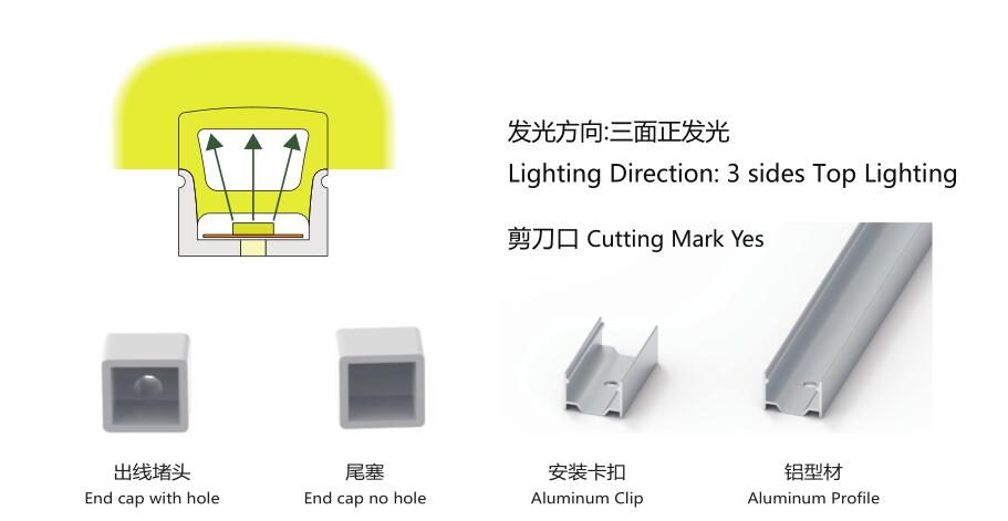 Size:14mm*14mm,silicon frosted neon tube,side view,used for PCBWidth:10mm;120/180° Beamangle