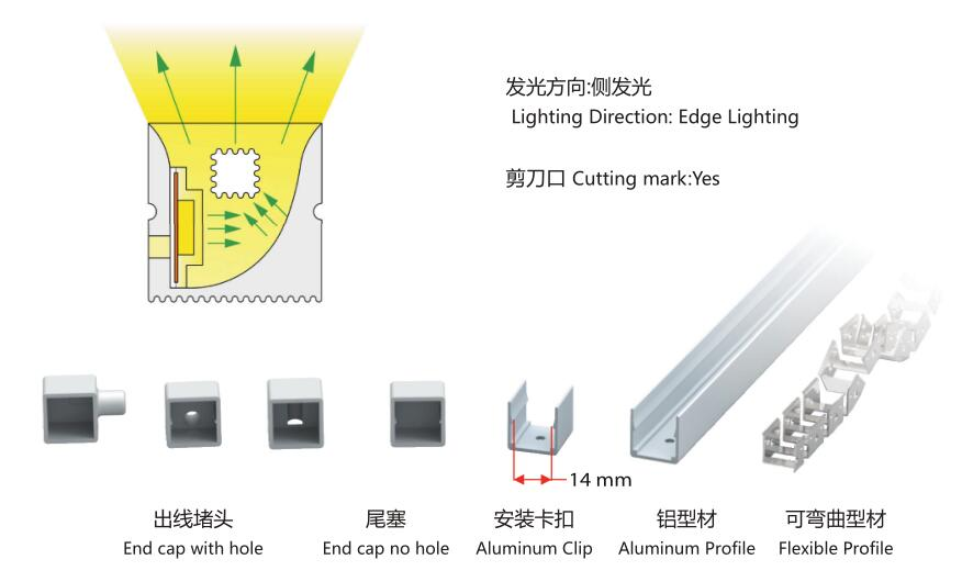 16mmX16mm diameter,silicon frosted neon tube,used for PCBWidth: 10mm/20mm;120° Beamangle