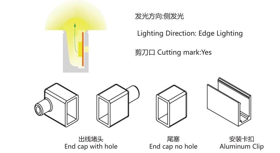Size:06mm*13mm,silicon frosted neon tube,side view,used for PCBWidth:8mm;180° Beamangle