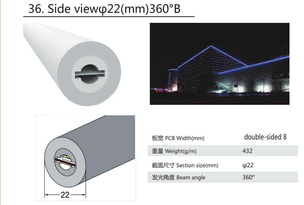 22mm diameter,silicon frosted neon tube,used for PCBWidth: double-sided8mm;360° Beamangle