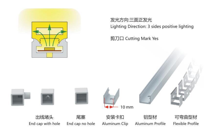 12mmX12mm diameter,silicon frosted neon tube,used for PCBWidth: 8mm;120/180° Beamangle