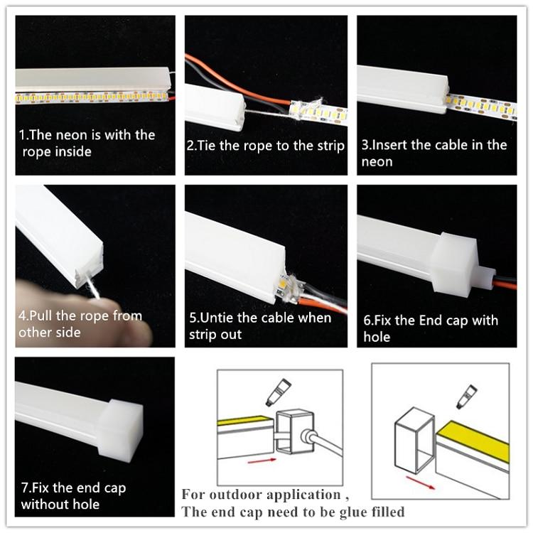 12VDC 12*12mm Neon Flex Rope,10W/M WaterProof Linear Strip,Flexible Silica Gel Profile Landscape Outline Dimming Tube Sign Light