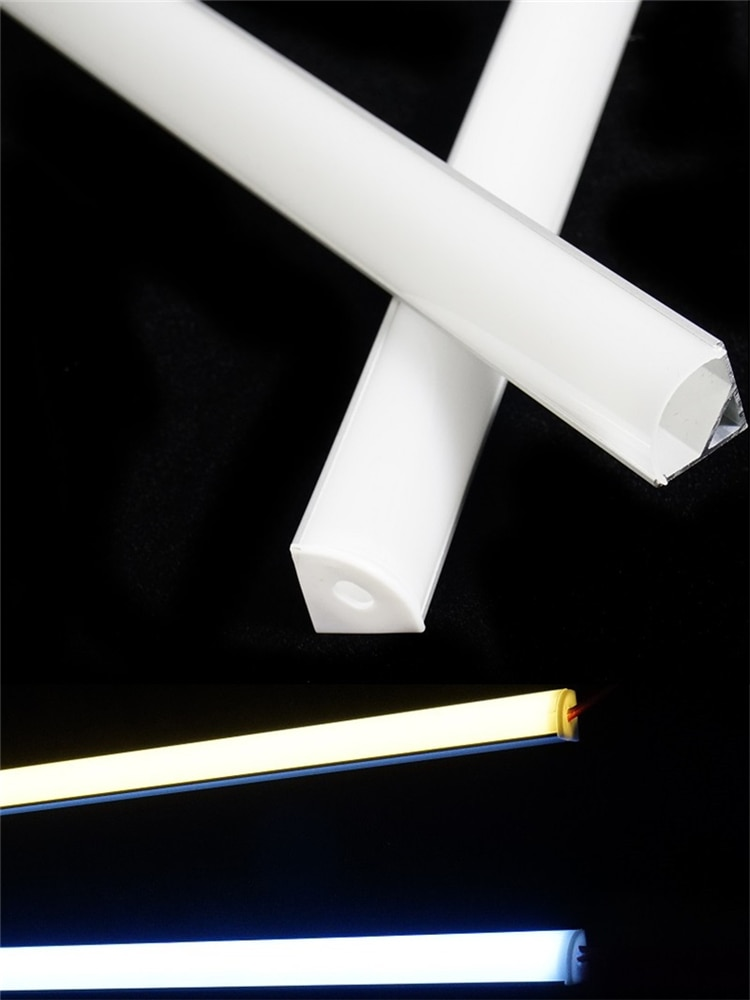 5Pieces 12/16/20Inch LED Aluminium profile,45 Degree Corner V Shape 3528 5050 5630 Tape Channel Diffuser Cabinet Bar Light House