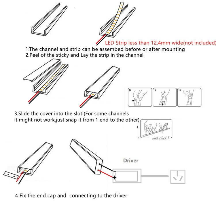 5/10-Pack 3.3FT 1M Recessed LED Strip Channel With Milky Cover ,Embedded Built In 12MM 5V 12V 24V Tape Light Aluminium Profile