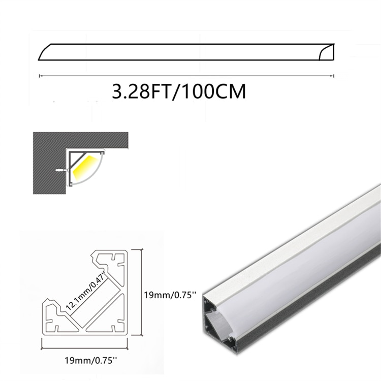 5/10-Pack 3.3FT 1M LED Strip Channel With Milky Cover ,Under Cabinet V Shape 12MM Tape Corner Aluminium Profile Matte Diffuser