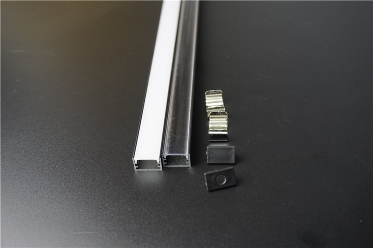 5-30pcs/lot 40inch 1m connective led bar light housing, anodized black slim flat led aluminium profile for 12mm 12v 24V strip