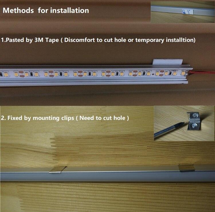 2-10pcs 20inch 1.64 feet 200-240Vac 6W V corner led bar light,connective cabinet kitchen cupboard shelves linear rigid bar strip