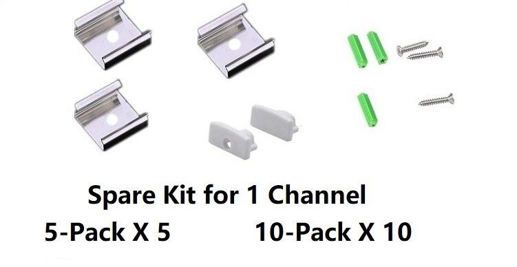 5/10-Pack 3.3FT 1M LED Strip Channel With Milky Cover ,Under Cabinet U Shape 12MM Wide 5V 12V 24V Tape Light Aluminium Profile