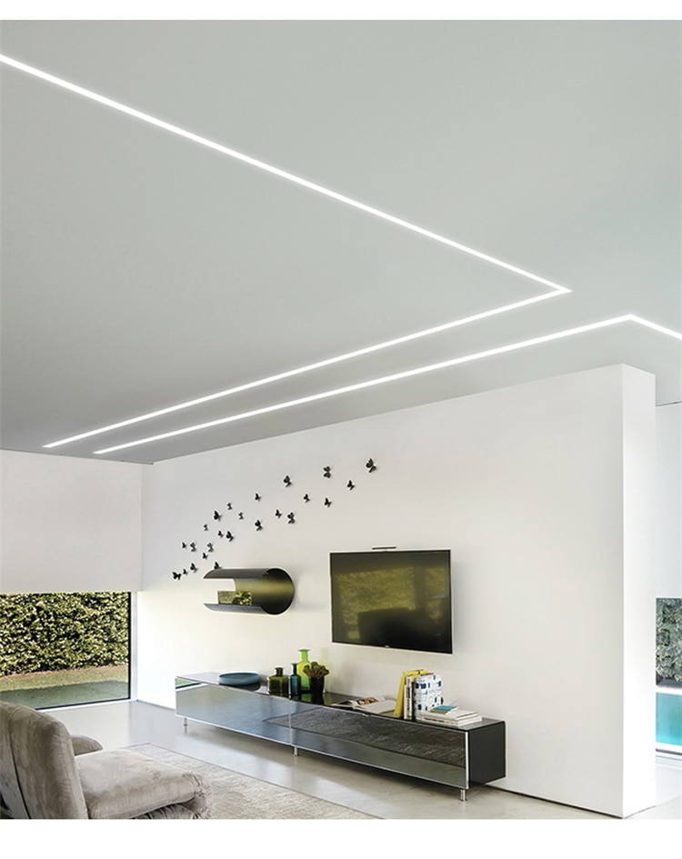 5 Pieces 100cm 40 Inch Ceiling LED Groove Aluminium Channel,Recessed DryWall Gypsum Board Trimless 30-50mm Strip Slot Profile