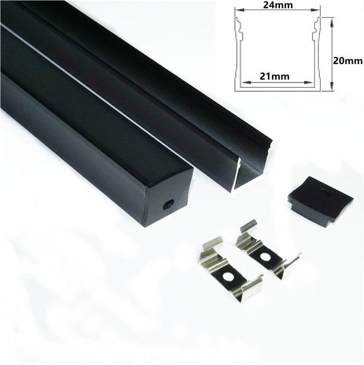 0.5m/20inch/1.64 feet black housing led aluminium profile,matte black cover ceiling wall 24mm wide 12V cabinet bar light channel