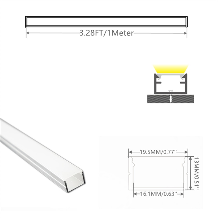 5/10-Pack 3.3FT 1M LED Strip Channel With Milky Cover ,Under Cabinet 16MM Philips Hue Plus Tape Light 19X13MM Aluminium Profile