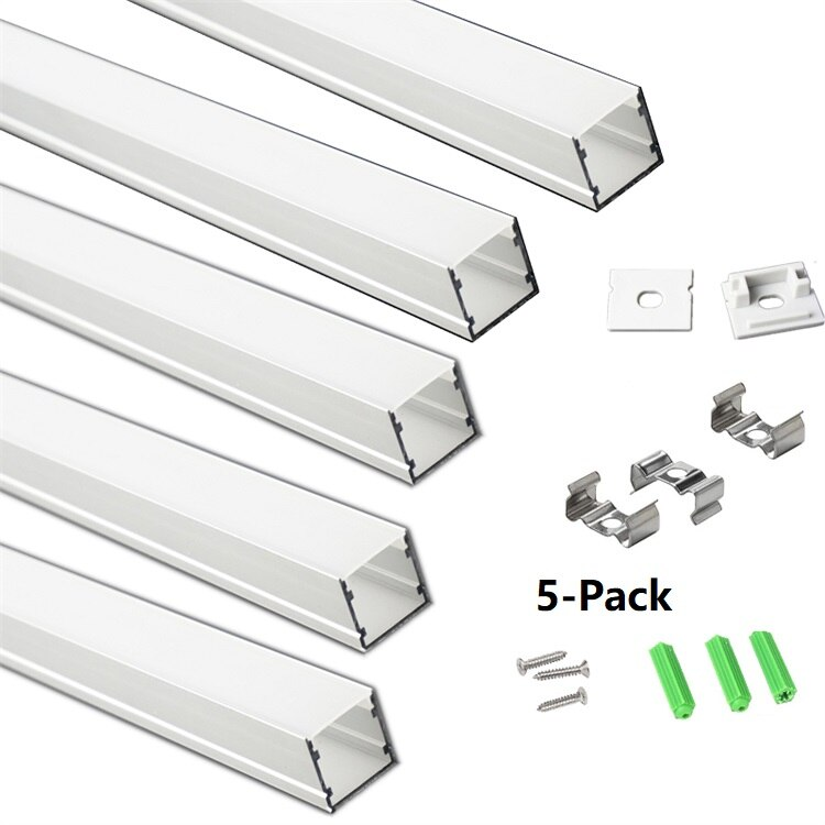 5/10-Pack 3.3FT 1M LED Strip Channel With Milky Cover,Under Cabinet 17.2MM Duall 5050 5630 Tape H20MM Aluminium Profile Diffuser